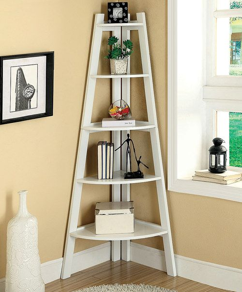 Look at this Furniture of America White Five-Shelf Corner Display Stand on #zulily today!