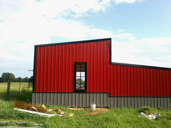 Barn shop red metal siding timberline geodesic dome for Red metal barn