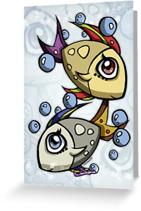 Twin Fishes greeting and post card. A cartoon illustration by lowvincentyh. http://www.redbubble.com/people/low-vincent-yh/works/11202963-twin-fishes?card_size=4x6&p=greeting-card #Pisces