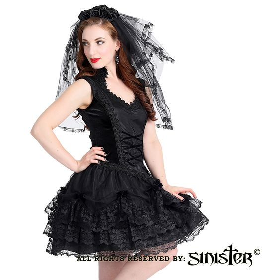 Valerie fluwelen mini jurk met kant en satijnen details zwart - Gothic Halloween