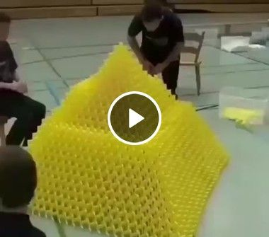 Homens consegui empilhar milhares de dominó