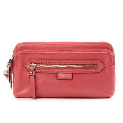 Coach Daisy Leather Double ZIP Wallet Wristlet Coral