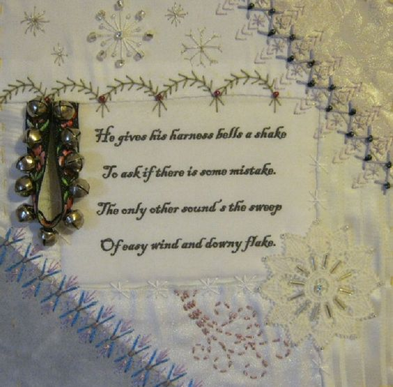 I ❤ crazy quilting & embroidery . . .  Poems RR, my blocks- The first two blocks done in my set in this rr. I couldn't be happier with them. This one was done by Sandy, & the one below was done by Kristie. They've both managed to translate the poem & the book that inspired my piecing into thread & embellishments & I'm just thrilled with them. ~By Manya, Humming Needles