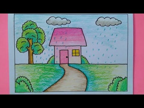 How To Draw Easy Scenery For Kids Rain Drawing Youtube Easy