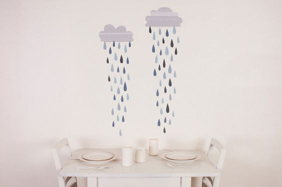 rain clouds wall decals.