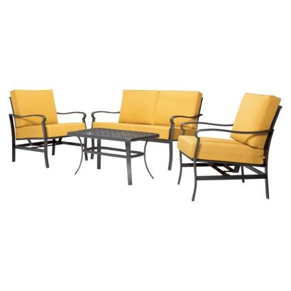 hawthorne 4 piece metal patio conversation furniture set blue threshold metal outdoor furniture sets