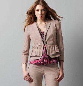 New 4 Ann Taylor LOFT Ruffle Khaki tan Career dress s suit blazer jacket m Top ;