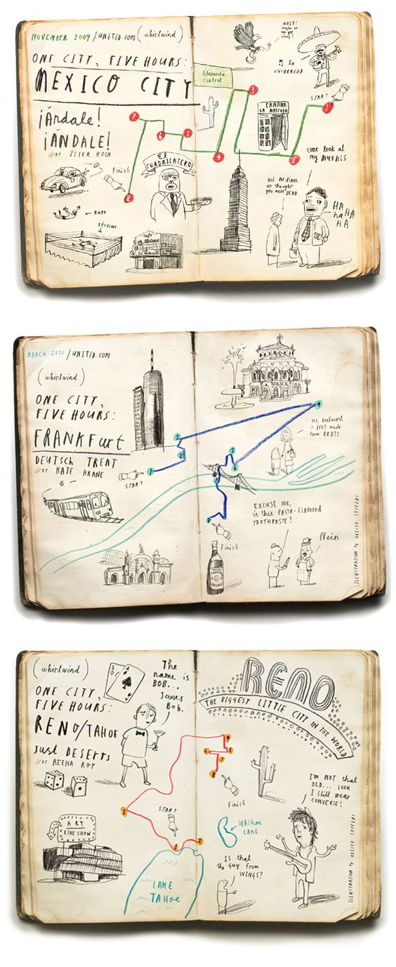 UNITED AIRLINES. Oliver Jeffers made a bunch of maps for the United Airlines inflight magazine. They are all geographically accurate.