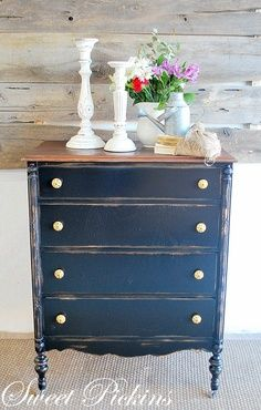 17 best images about dream distressing blue painted for Navy blue painted furniture