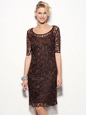 Uta Raasch - Legeres Spitzen-Kleid mit etwas längerem 1/2-Arm (Größe 36 bis 46)