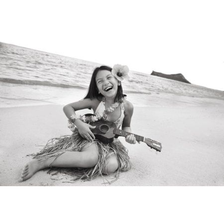 Hawaii Oahu Young Girl Smiling And Playing Ukulele On The Beach In A Hula Skirt Canvas Art - Brandon Tabiolo Design Pics (17 x 11)
