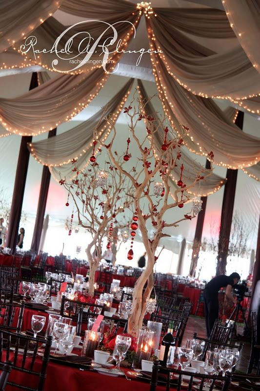 Reception Tent with red accents. Blue and silver accents. Hmmm....this is kinda cool Kate! You could switch the blue and red too.