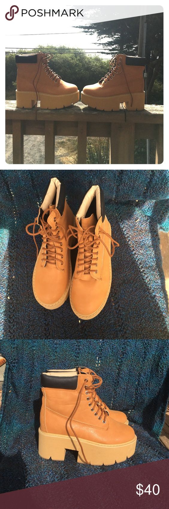 Amazing Jeffrey Campbell Nirvana Look Alikes I bought these from someone on depop, they're platform timberland style shoes. They don't fit me. I just want to make some of my money back. Great condition. Looks like they've only been worn once. Cheaper on Ⓜ️ Jeffrey Campbell Shoes Platforms