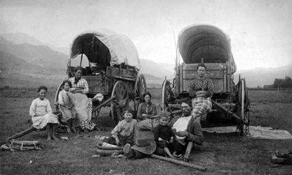 July 24: Celebrating Pioneer Day (Utah)  Mormon pioneer family migrating West.