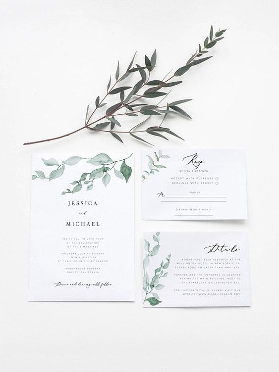 Greenery Wedding Invitation Set Template Eucalyptus Wreath