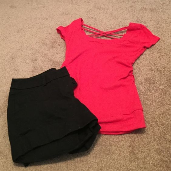 Black shorts & coral top bundle Mossimo black shorts size 2. Two front pockets two faux back pockets. Size small coral shirt. Rouching on sides. Criss cross detail on back. If sold separate: $10 each Tops Tees - Short Sleeve