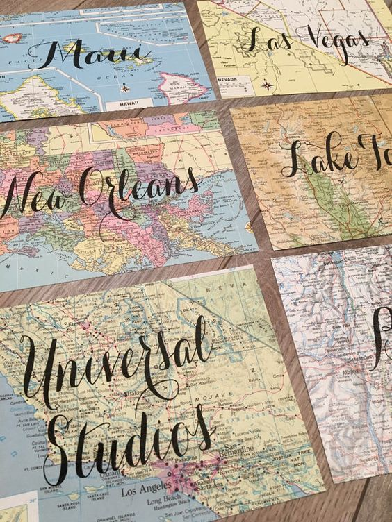 Vintage Map Table Names. Wedding Decor. Table by TINEdesigns