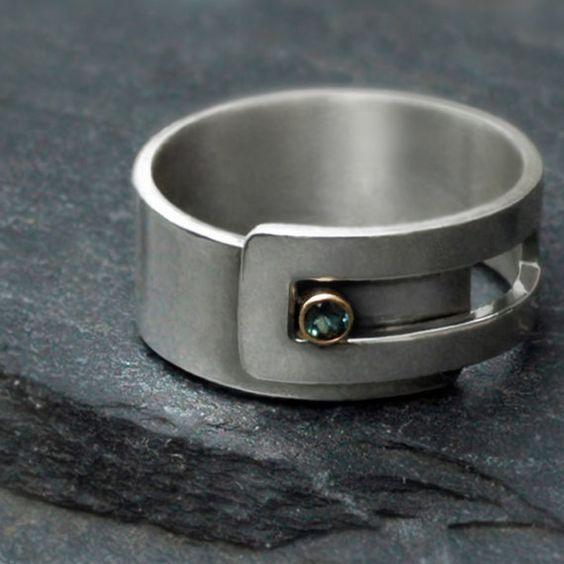 Alexandrite strap ring - Argentium sterling silver and 14k gold by Revonav via ETSY