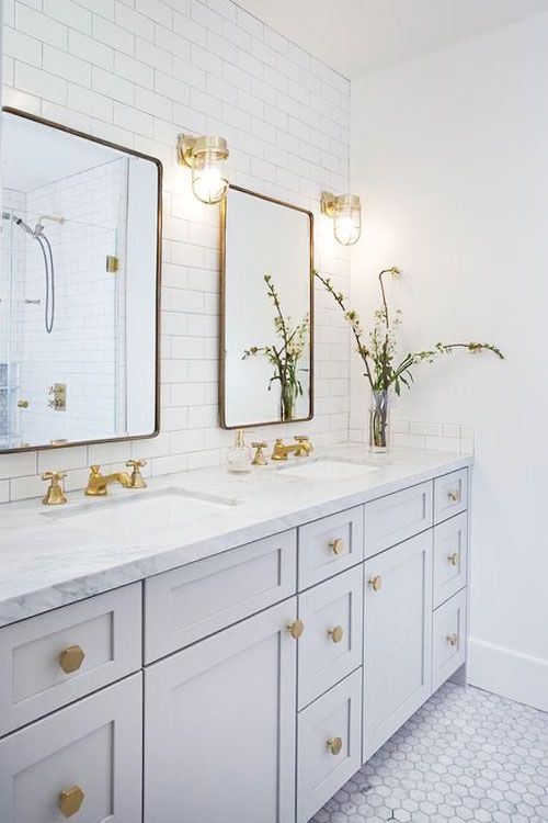 Interior Bathroom Gold Accents Fixtures Bathrooms Remodel