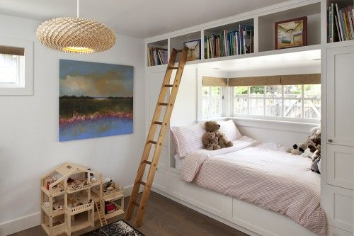elevated #bookshelf with a ladder, #child's bedroom