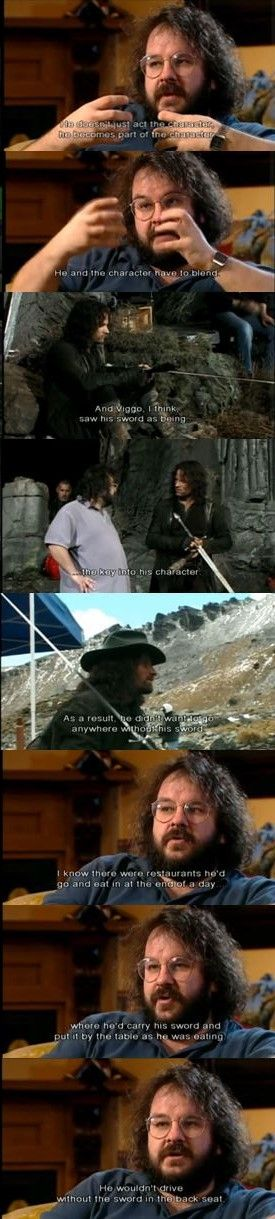 The Lord of the Rings behind the scenes - Peter Jackson on Viggo Mortensen's sword. I so remember watching the extras and laughing at this. XD I need to watch them again.