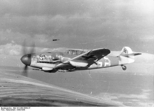 Bf 109G-6 fighter of JG 27 in flight(1943/44)