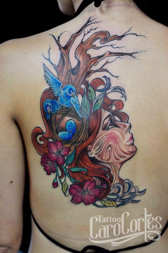 DRYAD - DRIADA /Caro cortes Colombian tattoo artist. carocortes.tumblr.com  www.carocortes.com/ #dryad #driada #tattoo #carocortes