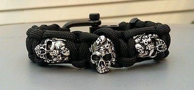 Custom triple Mind Skull Paracord Bracelet / Adjustable Shackle