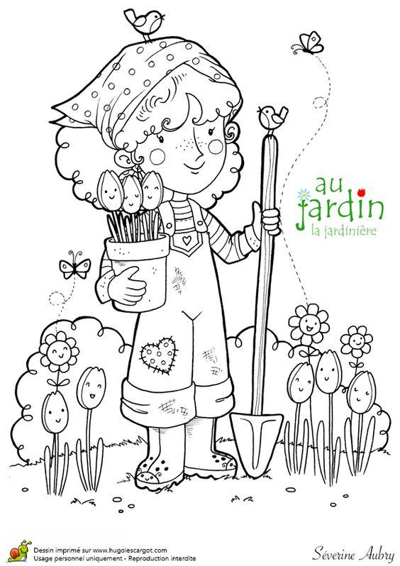 Coloriages jardinage la jardiniere jaro pinterest dame for Petit materiel de jardinage