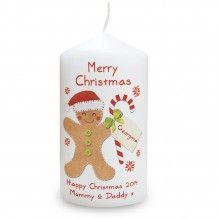Christmas gingerbread man design candle with organza presentation bag. Add a name and 2 lines of text to personalise. http://www.middletonwood.co.uk/