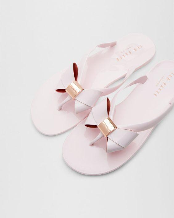 Bow flip flops - Light Pink | Footwear | Ted Baker UK