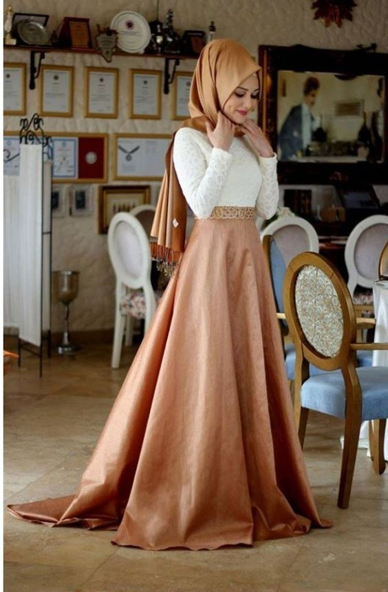 Online Shop A-line With Hijab White and Pink Velvet Elegant High ...