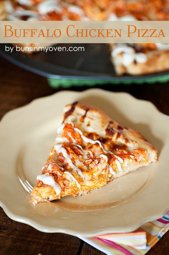 Buffalo Chicken Pizza #recipe from bunsinmyoven.com