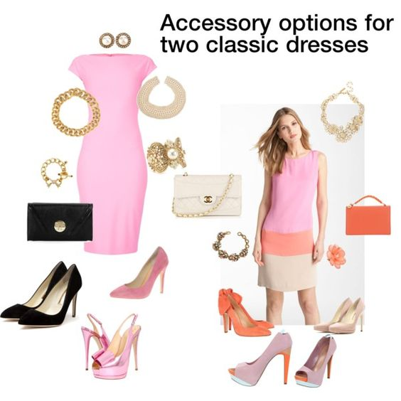 Accessory options for two classic dresses, created by mary-furnell-johnson on Polyvore