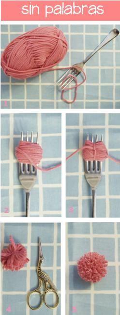 En casa de Tía Gretel: DIY - Pompones con tenedor