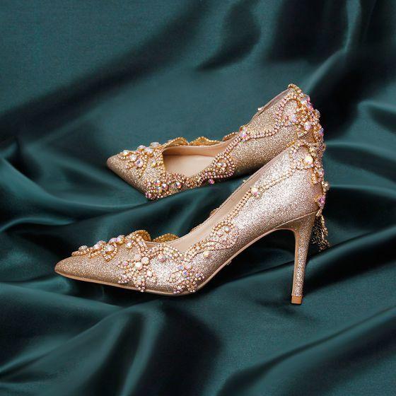 Blyszczace Szampan Rhinestone Buty Slubne 2020 Skorzany Cekinami Cekiny 9 Cm Szpilki Szpiczaste Slub Czolenka In 2020 Unique Wedding Shoes Rhinestone Wedding Shoes Bridal Shoes