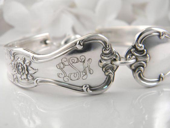 Set Of 4 PERSONALIZED Bridesmaids Bracelets, Spoon Bracelets, Spoon Jewelry, Bridesmaids Gifts, Custom Engraved NAMES or MONOGRAMS via Etsy