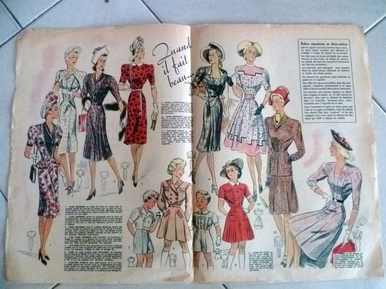 images of 1947 clothing | APRIL 1947 French FASHION / MODE Magazine VOTRE MODE # 10.... spring ...
