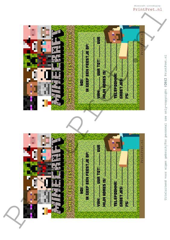 Minecraft uitnodigingen http://printpret.nl/Minecraft%20feestpakket