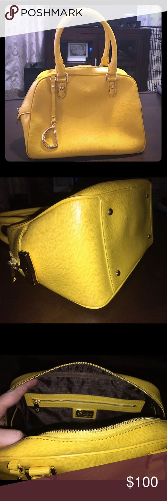 Yellow Ralph Lauren Sloan Street Dome Satchel Brand new, never used, received as a gift. Bag only, no dust bag, tags removed. No scratches whatsoever. Beautiful summer glam top handle hand bag! Ralph Lauren Bags Satchels