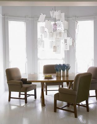 Froghill Designs Blog This contemporary dining room features the Zettel'z 5 chandelier by Ingo Maurer, which is made of love letters on Japanese paper.  It's light airy feel strikes the perfect note.