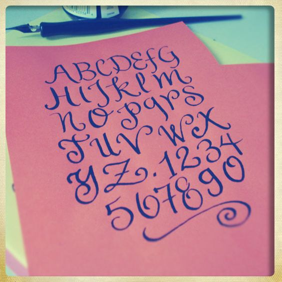 Calligraphy doodles i alphabet lettering love
