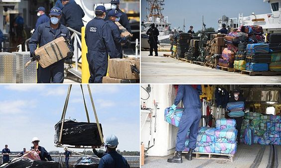 US Coast Guard unloads 21 TONS of cocaine confiscated during 30 operations   Daily Mail Online