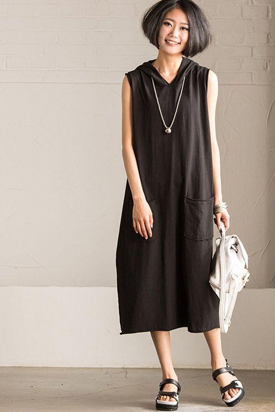 Korean Style Sleeveless hooded Fleece Long Dress 2016 Summer Q8033A