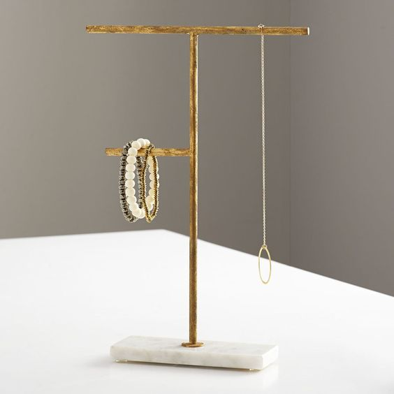 Marble And Gilt Jewelry Stand – Medium | Wisteria - Necklace Stand, Bracelet Stand, Jewelry Display, Organizer #organizer #jewelrystand #display #storage #marble #gold #minimalist #decor #wisteria #afflink
