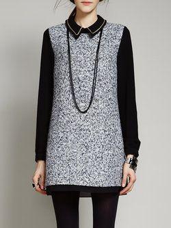 Cotton-blend H-line Long Sleeve Basic Peter Pan Collar Mini Dress