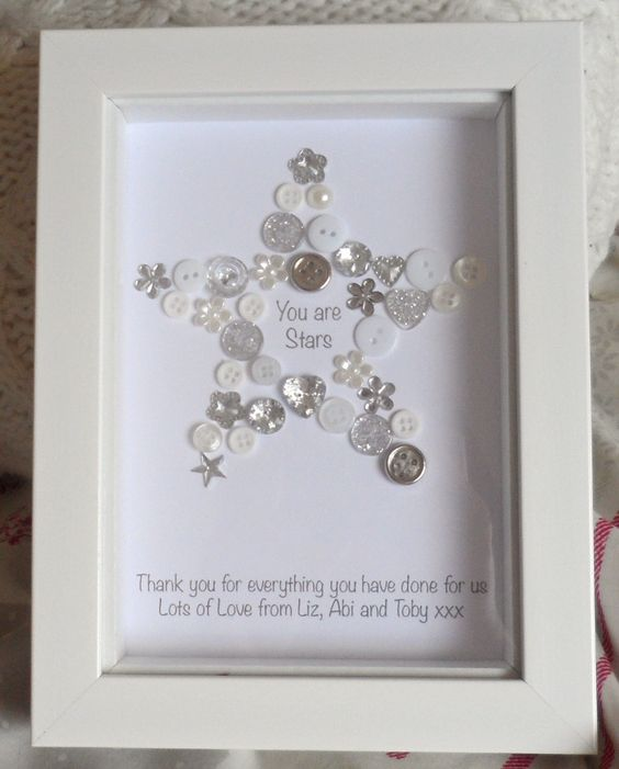 You Re A Star Button Picture Print Personalised Thank
