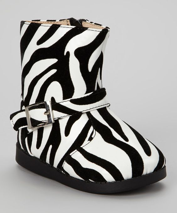 Take a look at this Sneak A' Roos Black & White Zebra Squeaker Boot on zulily today!