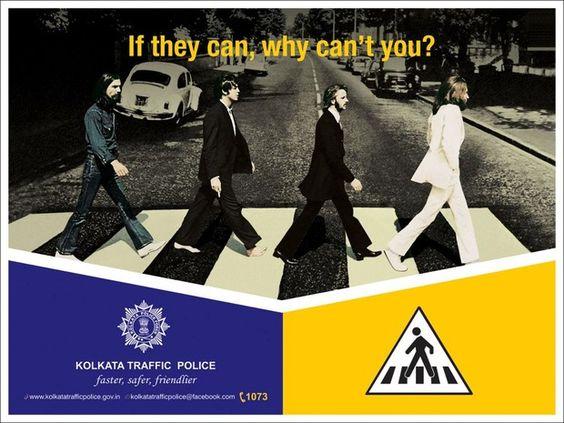 Capa emblemática dos Beatles será usada em campanha de trânsito em Calcutá (Foto: Reprodução)