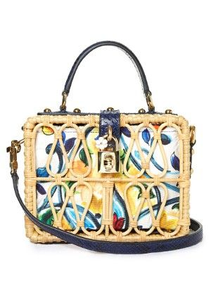 Majolica-print leather and wicker box bag | Dolce